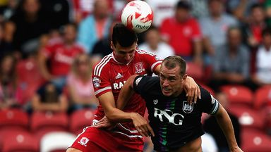 Daniel Ayala of Middlesbrough and Aaron Wilbraham of Bristol City challenge for the ball