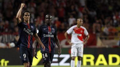 Edinson Cavani and Blaise Matuidi celebrate PSG victory at Monaco