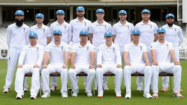 England's 2015 Ashes-winning squad line up for a team photo at The Oval.
