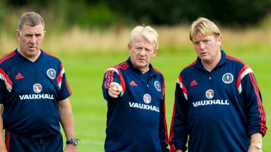 Scotland manager Gordon Strachan (middle) joins Stuart McCall (right) and Mark McGhee at training ahead of the clash with Georgia .