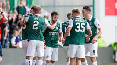Hibernian's James Keating's (centre) celebrates after giving his side the lead against Raith Rovers