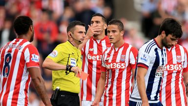 Stoke's Ibrahim Afellay was sent off for raising a hand to West Brom's Craig Gardner