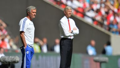 Arsenal manager Arsene Wenger (right) refused to shake hands with Chelsea boss Jose Mourinho (left) after the Community Shield