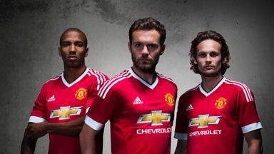 Ashley Young, Juan Mata and Daley Blind model the new kit