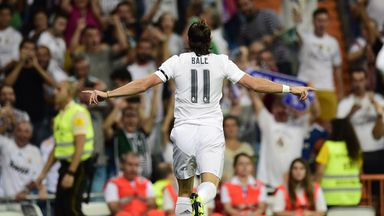 Gareth Bale celebrates after opening the scoring against Real Betis