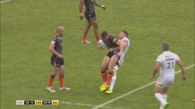 Ben Pomeroy was sent off for this horror tackle on Ashley Gibson during his side's 44-26 win over the Tigers