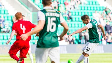 Scott Allan (right) scores Hibs second goal against Montrose at Easter Road