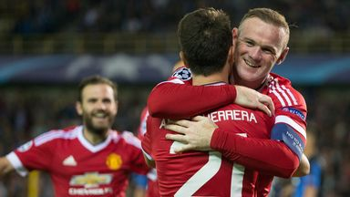 Wayne Rooney celebrates with Ander Herrera after scoring against Club Brugge