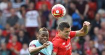 Dejan Lovren: Vies with Diafra Sakho during Liverpool's defeat to West Ham
