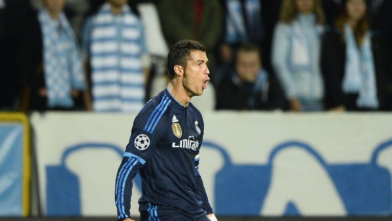 Cristiano Ronaldo celebrates after scoring his 500th goal against Malmo