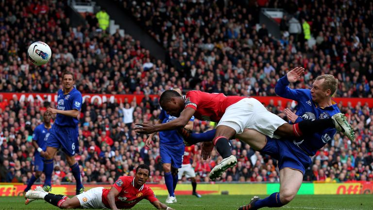 Patrice Evra hist the post as Man Utd are held to a 4-4 draw by Everton in 2012