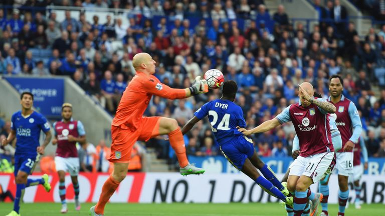Nathan Dyer (middle) scored a late winner as Leicester came from behind to beat Aston Villa 3-2 in September