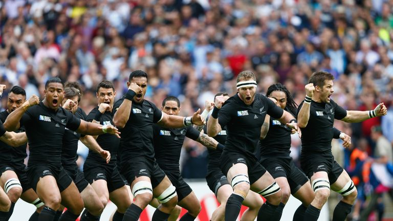 The All Blacks perform the haka during the 2015 Rugby World Cup Pool C match between New Zealand and Argentina