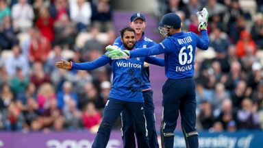 Adil Rashid celebrates the wicket of David Warner