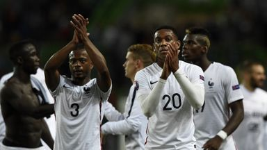 Anthony Martial (right) made his bow for France against Portugal