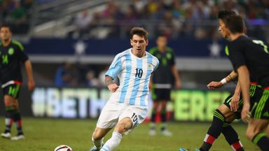 Argentina's Lionel Messi in action against Mexico