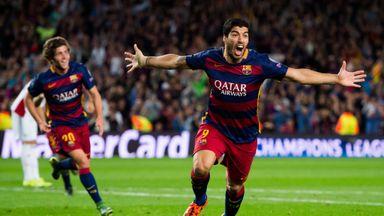 Luis Suarez celebrates after scoring Barcelona's winner