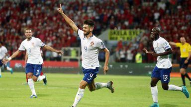 Miguel Veloso celebrates scoring Portugal's late winner in Albania