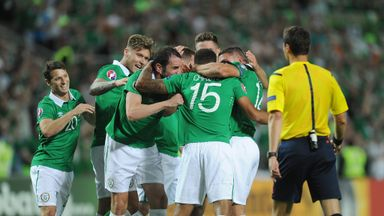 Cyrus Christie of Republic of Ireland celebrates with teammates