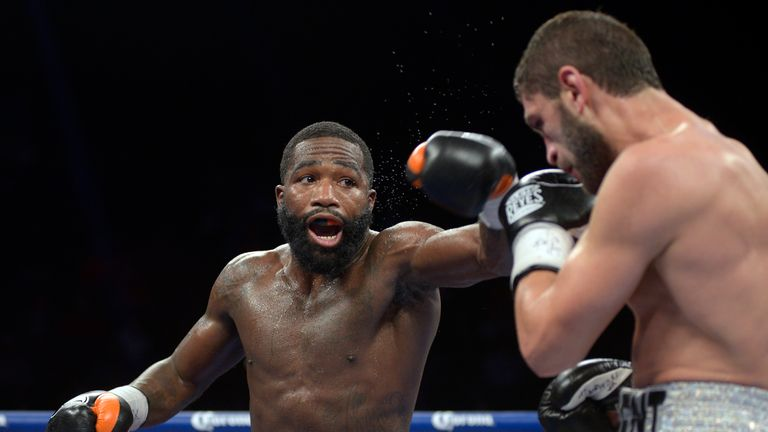Adrien Broner (L) has called out Theophane for his first defence