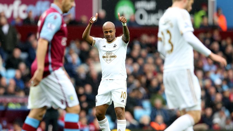 Andre Ayew celebrates his winning goal against Aston Villa