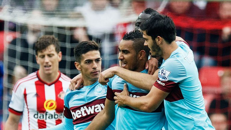 West Ham celebrate Dimitri Payet's (Second right) leveller to secure the draw at Sunderland