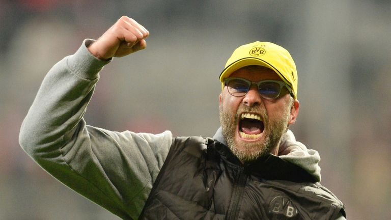 Jurgen Klopp celebrates after beating Real  in the 2013 Champions League semi-final