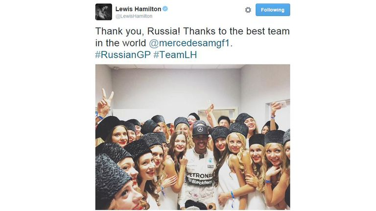 Lewis Hamilton tweeted with the grid girls post race