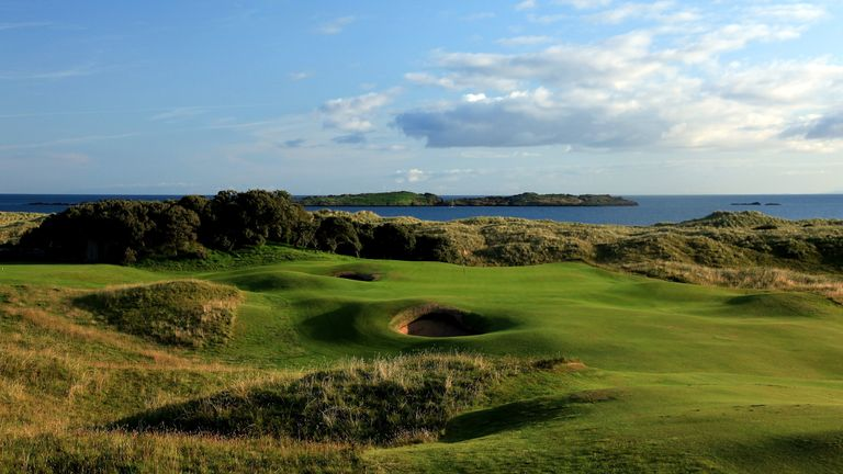 Spectacular views of the Skerries Rocks with the approach to the green on the 13th at Portrush