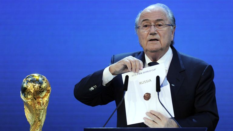 Blatter announcing Russia had won the bid to stage the 2018 World Cup