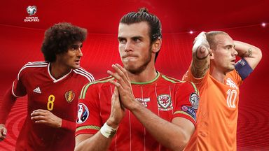 Marouane Fellaini, Gareth Bale and Wesley Sneijder are in European Qualifying action on Tuesday.