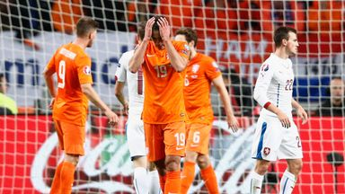 Robin van Persie (front) scored at both ends as the Netherlands failed to qualify for Euro 2016