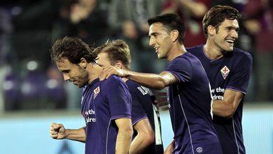 Joan Verdu celebrates his goal against Atalanta