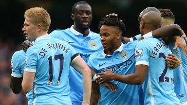 Raheem Sterling of Manchester City celebrates scoring his team's first goal