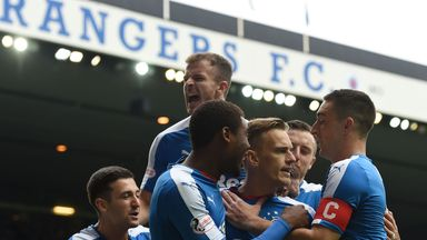 Rangers celebrate opening the scoring against Falkirk at Ibrox