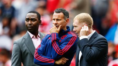 Paul Scholes joined Ryan Giggs in the Old Trafford dugout when he took interim charge of Manchester United in 2014