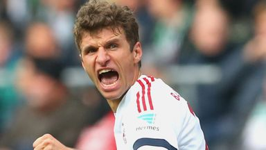 Thomas Muller celebrates scoring the only goal of the game against Werder Bremen