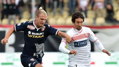 Maxi Lopez of Torino and Ryder Matos of Carpi in action