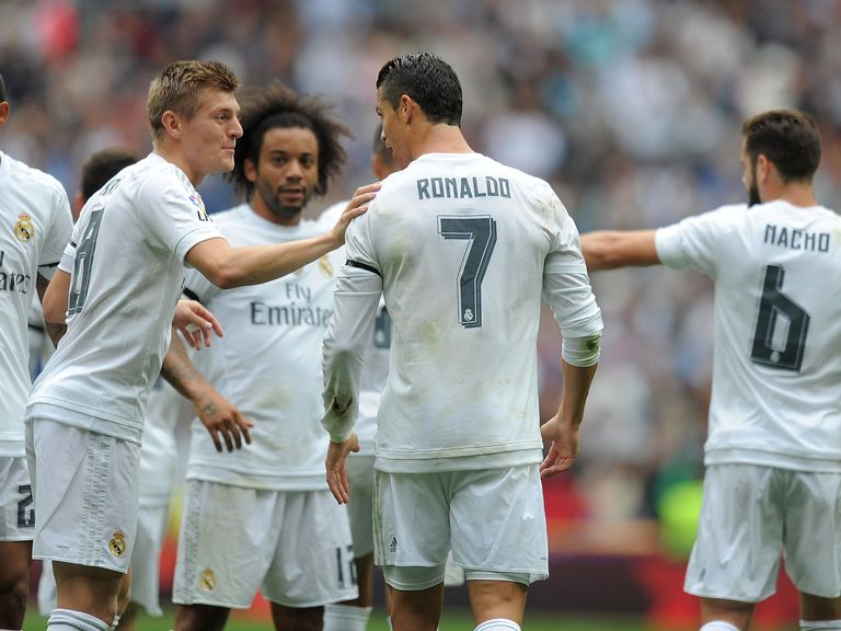 Cristiano Ronaldo of Real Madrid celebrates with Toni Kroos