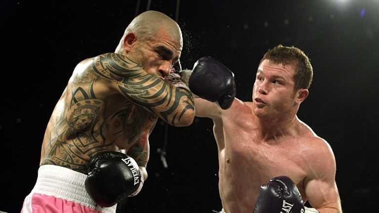 Pre-fight favourite Canelo Alvarez (right) dominated Miguel Cotto