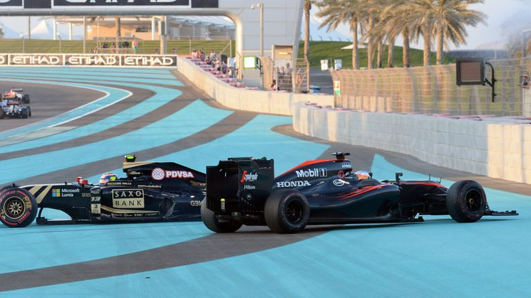 Alonso and Pastor Maldonado clashed at the first corner