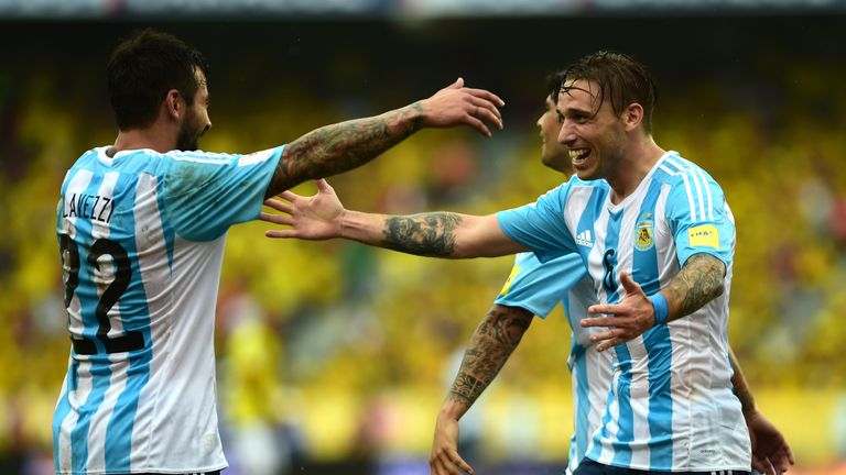 Lucas Biglia (right) celebrates with Ezequiel Lavezzi after scoring for Argentina