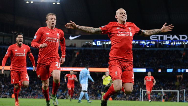 Liverpool's Martin Skrtel his side's fourth goal in the superb win at  Man City