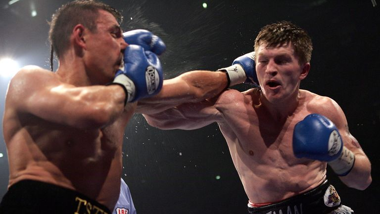 Ricky Hatton (R) was roared on by what seemed like all of Manchester