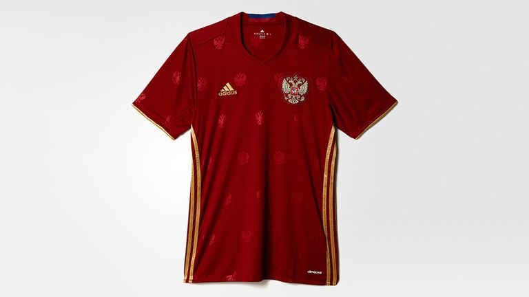 Russia's adidas kit features their crest printed across the fabric