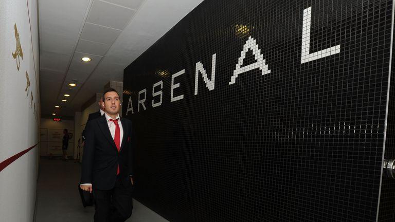 Arsenal's Santi Cazorla arriving at Emirates Stadium for the game against Tottenham on Sunday
