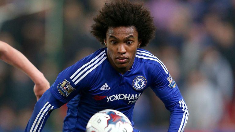 Willian is expected to feature for Chelsea after suffering bruising to his foot