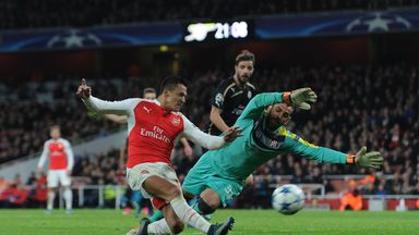 Alexis Sanchez (left) scored twice as Arsenal beat Dinamo Zagreb