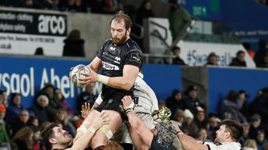 Ospreys' Alun Wyn Jones scored the only try of the game