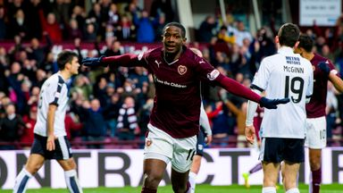 Arnaud Djoum celebrates after scoring for in-form Hearts at home to Dundee